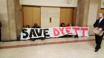 Organizers protesting in Chicago city hall